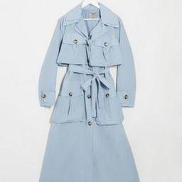 ASOS DESIGN layered utility taffeta trench coat in baby blue | ASOS (Global)