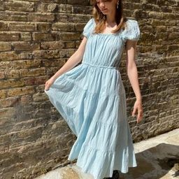 & Other Stories eco cotton square neck smock midaxi dress in blue | ASOS (Global)