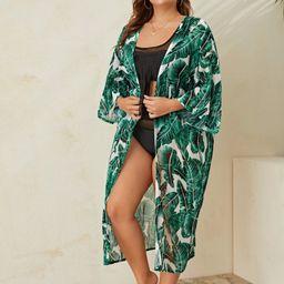 Plus Tropical Print Longline Kimono | SHEIN
