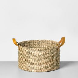 Short Seagrass Basket with Leather Handle Large - Hearth & Hand with Magnolia | Target
