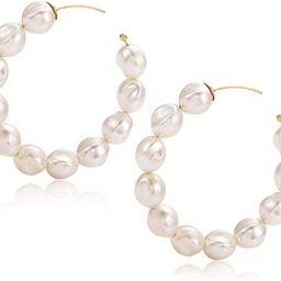 Pearl Hoop Earrings for Women Lightweight Faux Pearl Beaded Earrings Open Hoop Dangle Earrings Br... | Amazon (US)
