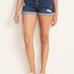 Distressed Button-Fly Boyfriend Jean Shorts for Women - 3-inch inseam   Old Navy (US)