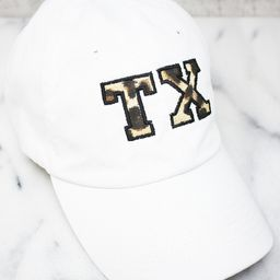 Leopard Print State Letters Applique Baseball Cap | The Pink Lily Boutique