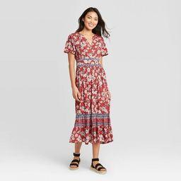 Women's Floral Print Short Sleeve Dress - Knox Rose™ Red   Target