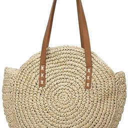 Women's Straw Handbags Large Summer Beach Tote Woven Round Pompom Handle Shoulder Bag | Amazon (US)