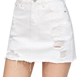 Verdusa Women's Casual Distressed Fray Hem A-Line Denim Short Skirt   Amazon (US)