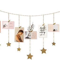 Mkono Hanging Photo Display Wood Stars Garland with Chains Picture Frame Collage with 25 Wood Cli... | Amazon (US)