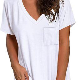 NSQTBA Womens Short Sleeve V Neck T Shirts Loose Casual Summer Tops Tees with Pocket | Amazon (US)