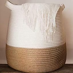 """Large Woven Rope Basket   17 x 17"""" Tall Decorative Blanket Basket for Living Room, Toys, Storag...   Amazon (US)"""