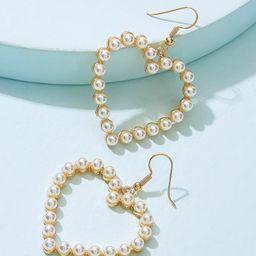 Faux Pearl Overlay Heart Drop Earrings 1pair         SKU: earringer190328638                   13... | ROMWE