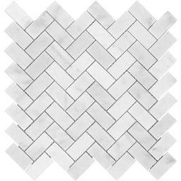 Satori Bianco Polished 12-in x 12-in Polished Herringbone Marble Look Wall Tile   Lowe's