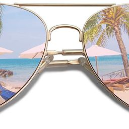 Classic Aviator Mirrored Flat Lens Sunglasses Metal Frame with Spring Hinges SJ1030 | Amazon (US)