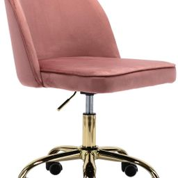 Kmax Desk Chair, Velvet Home Office Chair Adjustable Armless Task Chair with Gold Frame for Small... | Amazon (US)