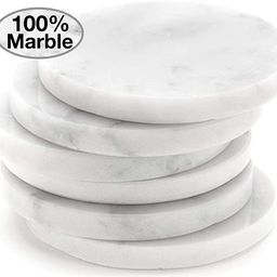 White Carrara Marble Stone Coasters For Drinks, Set of 6, With Holder | Perfect Housewarming Gift... | Amazon (US)