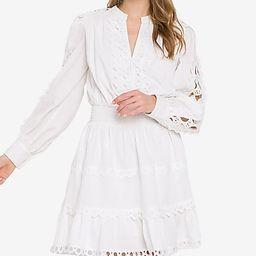 Endless Rose White Long Sleeve Lace Mini Dress   Express