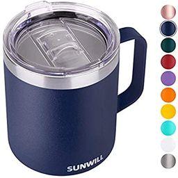 SUNWILL 14 oz Coffee Mug, Vacuum Insulated Camping Mug with Lid, Double Wall Stainless Steel Trav... | Amazon (US)
