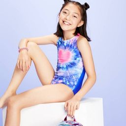 Girls' Tie-Dye Heart One Piece Swimsuit - More Than Magic™ Blue   Target