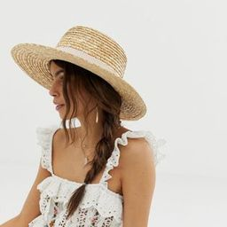 ASOS DESIGN natural straw easy boater with size adjuster and light band | ASOS (Global)
