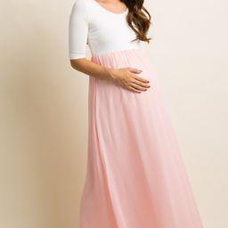 PinkBlush Pink Chiffon Colorblock Maternity Maxi Dress   PinkBlush Maternity