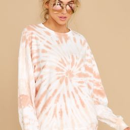 First Thought Peach Tie Dye Spiral Top | Red Dress