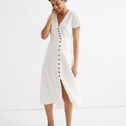 Linen-Blend Button-Wrap Midi Dress   Madewell