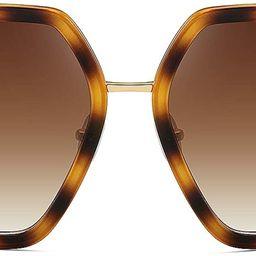 Oversized Fashion Sunglasses For Women Hexagon Inspired Brand Designer Style | Amazon (US)