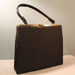 Vintage 1960's-1970's Black Clasp Top Handle Handbag Purse with Gold Accents   Etsy (US)