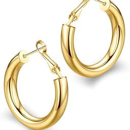 wowshow Thick Hoop Earrings Howllow 14K Gold Plated Gold Hoops for Women   Amazon (US)