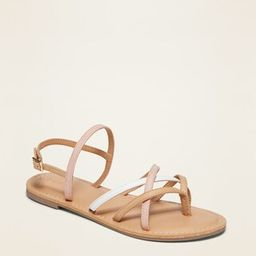 Strappy Color-Block Faux-Leather Sandals for Girls | Old Navy (US)