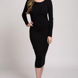 Waverleigh Black Ribbed Long Sleeve Fitted Maternity Midi Dress | PinkBlush Maternity