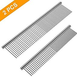 Cafhelp 2 Pack Dog Combs with Rounded Ends Stainless Steel Teeth, Cat Comb for Removing Tangles a...   Amazon (US)