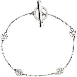 Tory Burch Womens 60269 T Logo Station Toggle Chain Bracelet Stainless Steel Silver | Amazon (US)