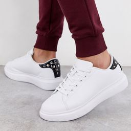Truffle Collection chunky white sneaker with studded black tab   ASOS (Global)