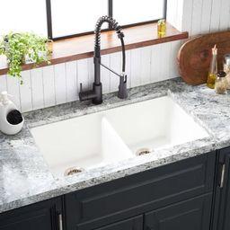"Totten 33"" Drop In or Undermount 50/50 Double Basin Granite Composite Kitchen Sink | Build.com, Inc."