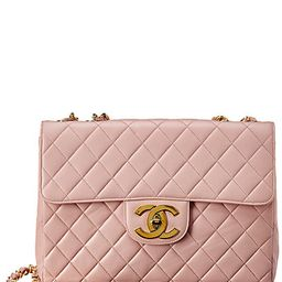 Chanel Pink Quilted Lambskin Leather Jumbo Single Half Flap Bag | Gilt