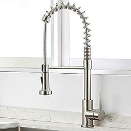 VAPSINT Commercial Brushed Nickel Solid Stainless Steel Pulldown High-Arc Kitchen Faucet, Kitchen... | Amazon (US)