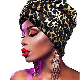L'vow Women' Soft Stretch Headband Long HeadWrap Scarf Turban Tie (Leopard color) | Amazon (US)
