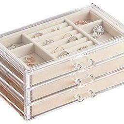 HerFav Jewelry Box for Women with 3 Drawers, Velvet Jewelry Organizer for Earring Bangle Bracelet... | Amazon (US)