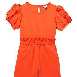 Habitual Girl Little Girl's Puff-Sleeve Romper - Orange - Size 4T   Saks Fifth Avenue