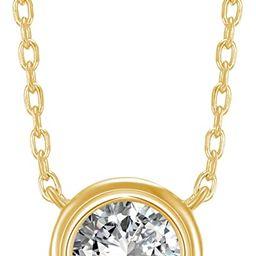 14K Gold Plated 1.00 ct (D Color, VVS Clarity) CZ Simulated Diamond Bezel-Set Solitaire Choker Ne...   Amazon (US)