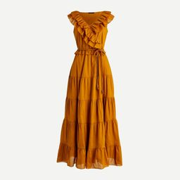 Ruffle-front maxi dress with braided belt   J.Crew US