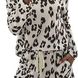 Women Pajamas Set Tie Dye Print Long Sleeve Shirt Elastic Shorts Sleepwear Loungewear Nightwear | Amazon (US)
