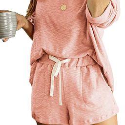 Women's Summer Shorts Pajamas Set Long Sleeve Tops Sleepwear Nightwear Loungewear Pjs 2 Piece | Amazon (US)