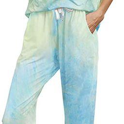 Womens Tie Dye Printed Casual Short Sleeve Tops and Long Pants Joggers Sleepwear Nightwear Soft... | Amazon (US)