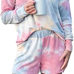 Womens Pajamas Tie Dye Printed Shirt PJ Sets Loungewear Sleepwear Nightwear | Amazon (US)