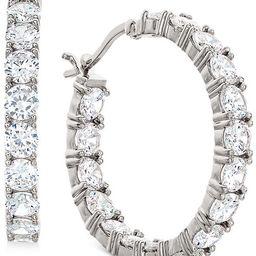 """Cubic Zirconia In & Out Hoop Earrings in Sterling Silver, 1.17""""   Macys (US)"""