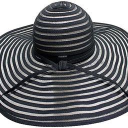 Black & Sheer Striped Wide Brim Floppy Hat   Amazon (US)