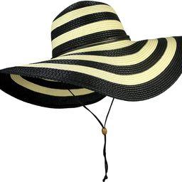 UPF 50+ Large Striped Straw Floppy Sun Hat- Adjustable Wide Brim Beach Hat with Chin Strap   Amazon (US)