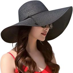 Womens Wide Brim Straw Hat Floppy Foldable Roll up Cap Beach Sun Hat UPF 50+   Amazon (US)