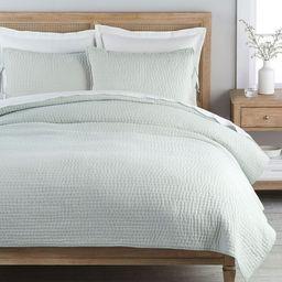 Pick-Stitch Handcrafted Cotton/Linen Quilt & Shams - Porcelain Blue | Pottery Barn (US)